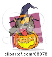 Happy Werewolf Popping Out Of A Carved Halloween Pumpkin On Pink
