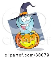 Royalty Free RF Clipart Illustration Of A Happy Blue Ghost Popping Out Of A Carved Halloween Pumpkin On Gray