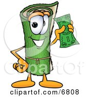 Clipart Picture Of A Green Carpet Mascot Cartoon Character Holding A Dollar Bill