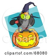 Royalty Free RF Clipart Illustration Of A Black Cat Sitting Inside Of A Pumpkin And Wearing With Hat Over A Turquoise Diamond by Hit Toon