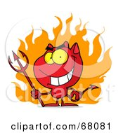 Royalty Free RF Clipart Illustration Of A Red Halloween Devil With Fire And A Trident by Hit Toon