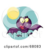 Royalty Free RF Clipart Illustration Of A Hyper Purple Flying Vampire Bat Near A Full Moon