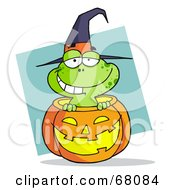 Royalty Free RF Clipart Illustration Of A Happy Frog Popping Out Of A Carved Halloween Pumpkin On Blue by Hit Toon