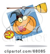 Royalty Free RF Clipart Illustration Of A Jumping Pumpkin Character Witch With A Jackolantern And Broom