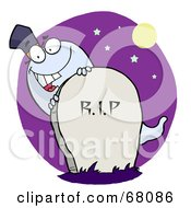 Royalty Free RF Clipart Illustration Of A White Halloween Ghost Peeking Behind A Tombstone Over A Purple Circle
