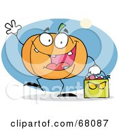Waving Pumpkin Character Carrying A Green Trick Or Treat Bag