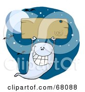 Royalty Free RF Clipart Illustration Of A Ghost Holding Up A Blank Wooden Sign And Flying Against A Night Sky With Bats