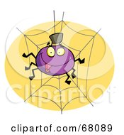 Royalty Free RF Clipart Illustration Of A Purple Halloween Spider On A Web
