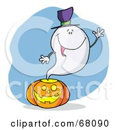 Royalty Free RF Clipart Illustration Of A Friendly Ghost Wearing A Hat Waving And Emerging From A Halloween Pumpkin