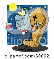 Royalty Free RF Clipart Illustration Of A Vampire Drinking A Glass Of Blood In Front Of His Coffin At Night by Hit Toon