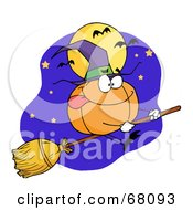Royalty Free RF Clipart Illustration Of A Pumpkin Character Witch Flying By A Full Moon And Bats On A Broom Stick