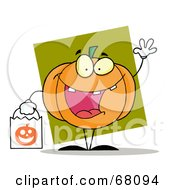 Royalty Free RF Clipart Illustration Of A Waving Pumpkin Character Carrying A White Trick Or Treat Bag