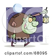 Royalty Free RF Clipart Illustration Of A Green Igor Walking With A Lantern At Night by Hit Toon