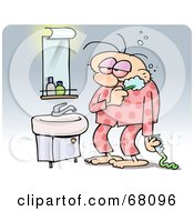 Royalty Free RF Clipart Illustration Of A Tired Man Brushing His Teeth And Wearing His Pajamas In The Morning by gnurf