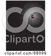 Royalty Free RF Clipart Illustration Of A Black Widow Spider In A Web On Black by Pushkin