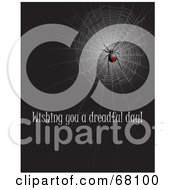 Royalty Free RF Clipart Illustration Of A Black Widow Spider In A Web With Wishing You A Dreadful Day Text by Pushkin