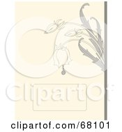 Royalty Free RF Clipart Illustration Of A Beige Bridal Background With Gray Bell Flowers And A Text Box