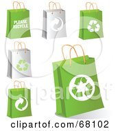 Royalty Free RF Clipart Illustration Of A Digital Collage Of Gray And Green Eco Shopping Bags by Pushkin