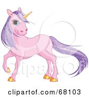 Royalty Free RF Clipart Illustration Of A Purple Unicorn With Sparkling Hair And A Golden Horn