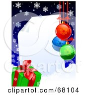 Royalty Free RF Clipart Illustration Of A Curling Piece Of Paper Christmas Background With Snowflakes Snow A Present And Baubles