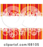 Royalty Free RF Clipart Illustration Of A Striped Christmas Background With Snowflakes And A White Text Bar