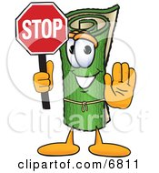 Clipart Picture Of A Green Carpet Mascot Cartoon Character Holding A Stop Sign