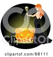 Cat By A Sexy Red Haired Witch Stirring A Spell In A Pumpkin Cauldron On A Green