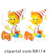 Royalty Free RF Clipart Illustration Of A Digital Collage Of Cartoon And Airbrush Styled Wooden Puppets
