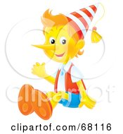 Royalty Free RF Clipart Illustration Of A Friendly Airbrushed Wooden Puppet Boy