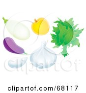 Royalty Free RF Clipart Illustration Of A Digital Collage Of White And Purple Eggplants Garlic Apricot And Spinach