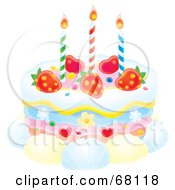 Royalty Free RF Clipart Illustration Of A Birthday Cake With Candles Strawberries Hearts Flowers And Shells by Alex Bannykh