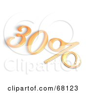 Royalty Free RF Clipart Illustration Of A 3d 30 Percent Off In Orange