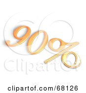 Royalty Free RF Clipart Illustration Of A 3d 90 Percent Off In Orange