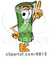 Green Carpet Mascot Cartoon Character Pointing Upwards