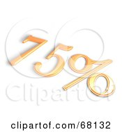 Royalty Free RF Clipart Illustration Of A 3d 75 Percent Off In Orange