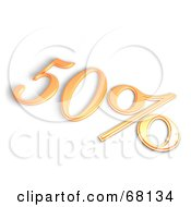Royalty Free RF Clipart Illustration Of A 3d 50 Percent Off In Orange