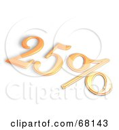Royalty Free RF Clipart Illustration Of A 3d 25 Percent Off In Orange