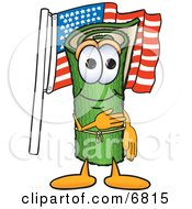 Green Carpet Mascot Cartoon Character Pledging Allegiance To The American Flag