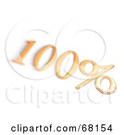 Royalty Free RF Clipart Illustration Of A 3d One Hundred Percent Off In Orange