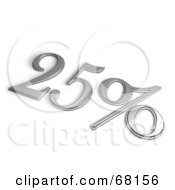 Royalty Free RF Clipart Illustration Of A 3d 25 Percent Off In Chrome
