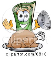 Clipart Picture Of A Green Carpet Mascot Cartoon Character With A Thanksgiving Turkey On A Platter