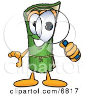 Green Carpet Mascot Cartoon Character Looking Through A Magnifying Glass