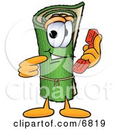 Green Carpet Mascot Cartoon Character Holding A Telephone