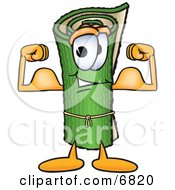 Clipart Picture Of A Green Carpet Mascot Cartoon Character Flexing His Arm Muscles