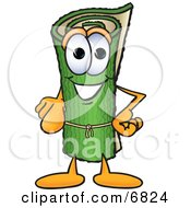 Clipart Picture Of A Green Carpet Mascot Cartoon Character Pointing At The Viewer
