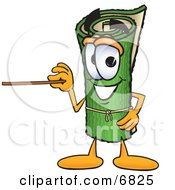 Green Carpet Mascot Cartoon Character Using A Pointer Stick
