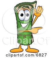 Green Carpet Mascot Cartoon Character Waving And Pointing