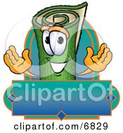 Clipart Picture Of A Green Carpet Mascot Cartoon Character With A Blank Label