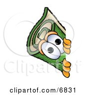 Clipart Picture Of A Green Carpet Mascot Cartoon Character Peeking Around A Corner