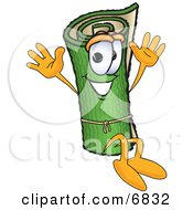 Green Carpet Mascot Cartoon Character Jumping